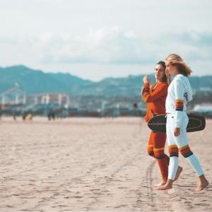aviatornationのセットアップを着て砂浜を歩いている2人の女性の画像